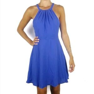 Express periwinkle pleated fit flare dress